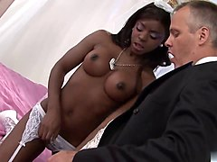 ebony bride gets a taste of a long white dick in bed