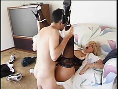 Trashy older c-cup blonde sucks young dude's cock then he licks her pussy