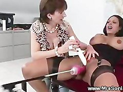 Mature orgasm from sex machine