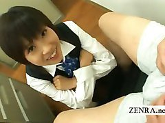 Japan office lady teases shy coworker about tiny penis
