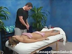 Sexy girl seduced in massage room